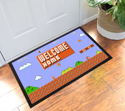 Super Mario Bros Title Start Screen Personalised Doormat Hallway Welcome Mat